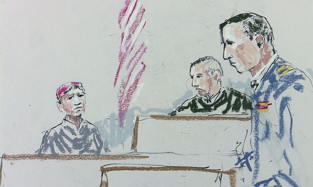 Courtroom sketch shows Afghan witness Rafiulla answering questions from prosecutor during a pre-sentencing hearing for Army Staff Sergeant Robert Bales in Tacoma Washington