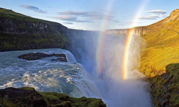 Island ist wunderschön: Der Wasserfall Gullfoss.