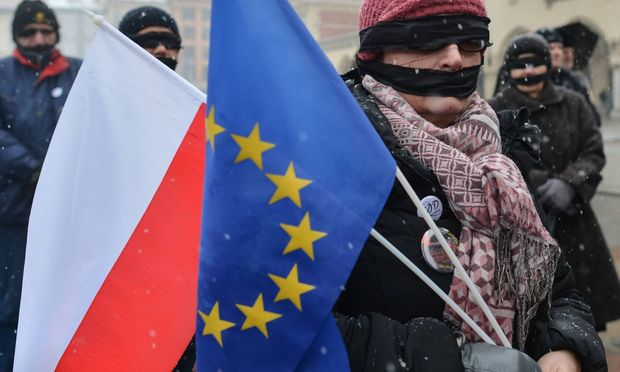 January 21 2018 Krakow Poland Members of the Polish opposition and activists wearing black ba