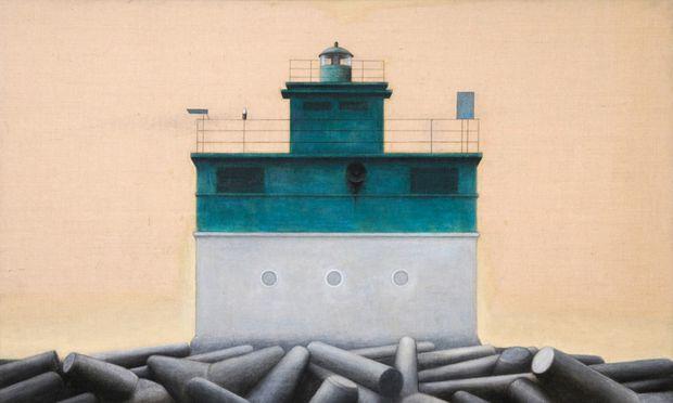 """Monumentale Denkmale menschlicher Wegsuche: """"Leuchtturm grün"""", 2012, Öl, Kohle, 180 mal 240 cm."""