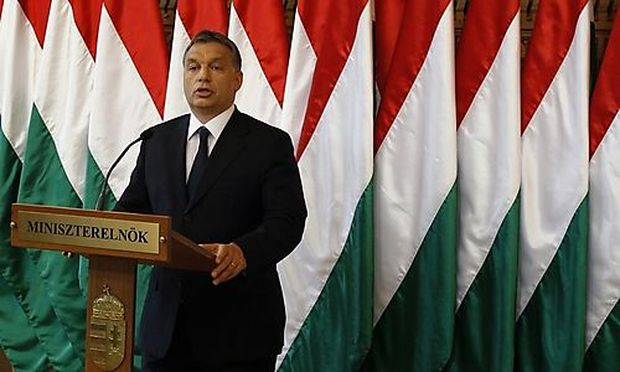 Hungarys Prime Minister Viktor Orban gestures as he makes a press statement in Budapests Prime Minister Viktor Orban gestures as he makes a press statement in Budapest