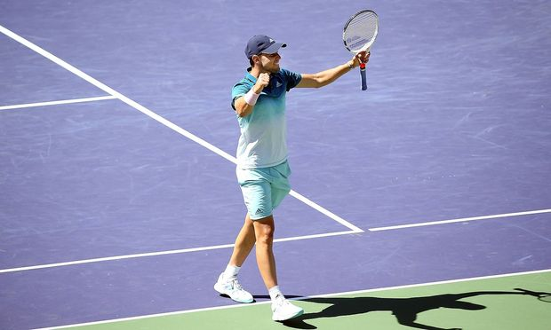 INDIAN WELLS CA MARCH 16 Dominic Thiem AUT reacts after defeating Milos Raonic CAN during t