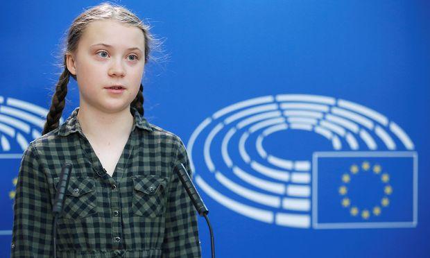 Thunberg im EU-Parlament.