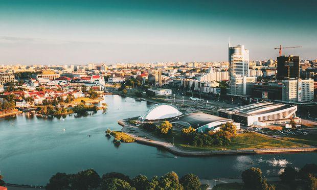 Die Skyline der Belarus-Hauptstadt Minsk.