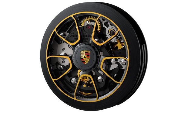 Das Design des Rotors ist der Felge der 911 Turbo S Exclusive Series nachempfunden und original lackiert.
