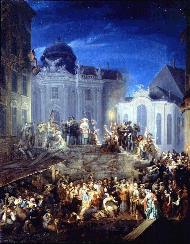 Die Barrikade auf dem Michaelerplatz in der Nacht vom 26. auf den 27. Mai 1848.