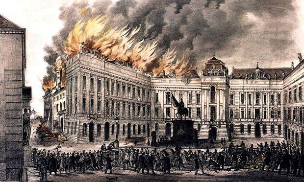Das Ende der Revolution: Brand am Josefsplatz, Oktober 1848