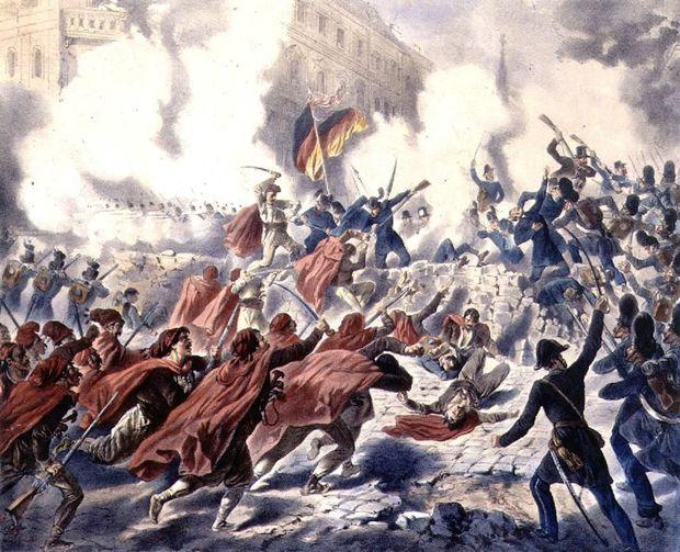 AUSSTELDie Erstürmung der Sternbarrikade durch die Armee am 28.Oktober 1848