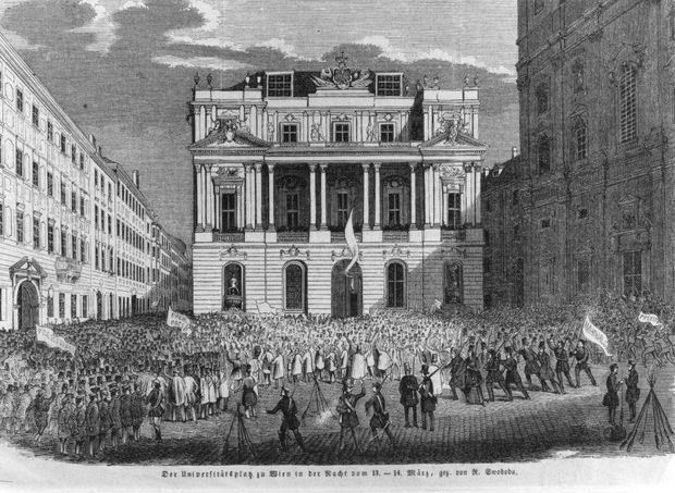 Der Universitätsplatz in der Nacht vom 13. zum 14. März 1848.