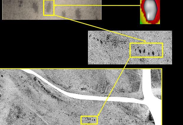 Bodenradaraufnahmen und eine Aufnahme durch elektrische Widerstandsmessung der untersuchten Fläche.