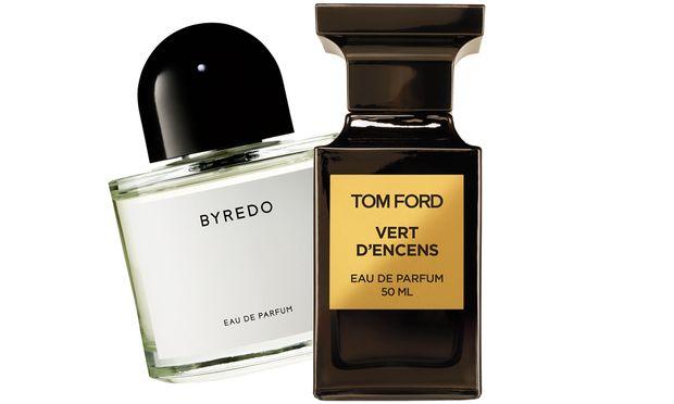 """Evergreen. """"Vert d'encens"""" aus der Private Collection von Tom Ford (50 ml um 199 €) und """"Unnamed Perfume"""" von Byredo (100 ml um 165 €, exklusiv bei Le Parfum am Petersplatz)."""