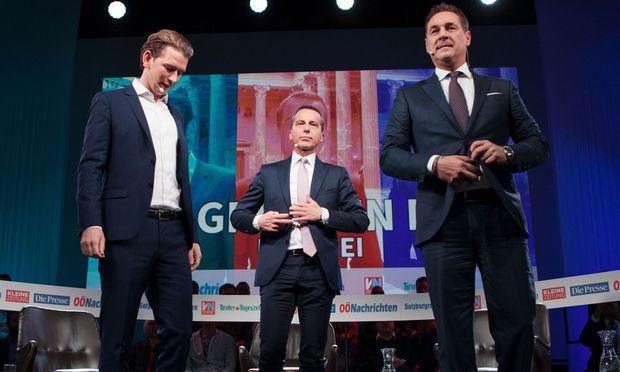 ÖVP-Chef Sebastian Kurz, SPÖ-Kanzler Christian Kern und FPÖ-Obmann Heinz-Christian Strache.