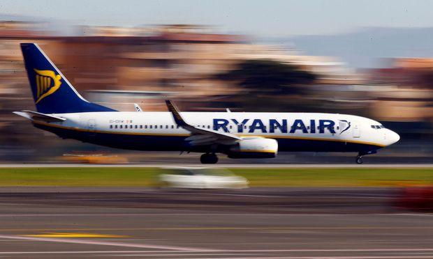 FILE PHOTO: A Ryanair aircraft lands at Ciampino Airport in Rome