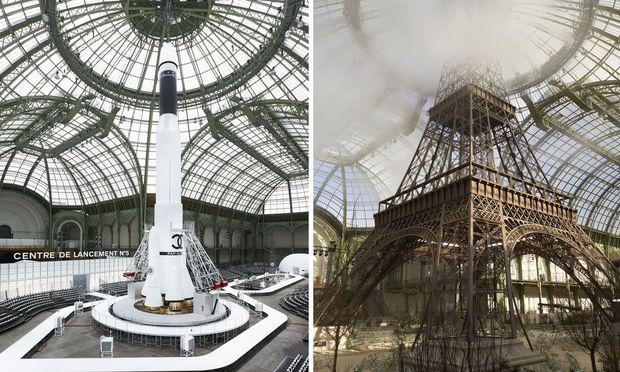 Eine Replik des Eiffelturms oder eine Rakete -  Die Kulisse ergänzt perfekt den Grundton, den die Kollektionen Lagerfelds vorgeben.