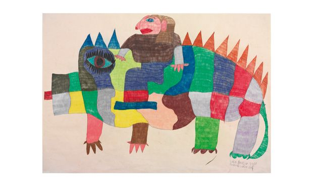 "Die erfolgreichste Gugginger Künstlerin: Laila Bachtiar, ""Krokodil Laila auf"", 70 x 100 cm, 2001."
