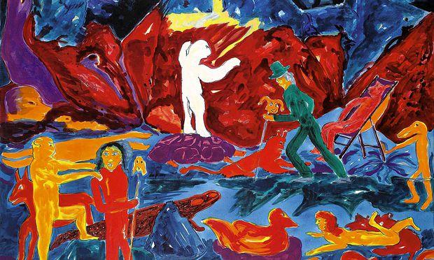 ALFRED KLINKAN: ''WEG IN JISLAND'', 1982, Öl auf Leinwand, 200 x 200 cm