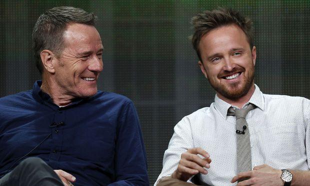 """Bryan Cranston und Aaron Paul, die Hauptdarsteller der Erfolgsserie """"Breaking Bad"""""""