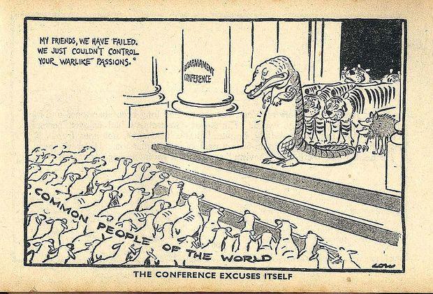 Comic über das Ende der Genfer Abrüstungskonferenz 1937