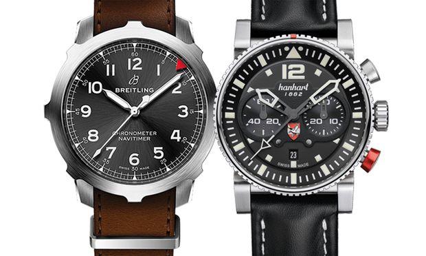"""Links: Der Breitling """"Navitimer 8 Super 8 B20 Automatic 50"""" wurde von der Referenz 637 inspiriert. Rechts: Für die österreichischen  Luftstreitkräfte kreiert: die Hanhart """"Primus Austrian Air Force Pilot  Limited Edition"""""""