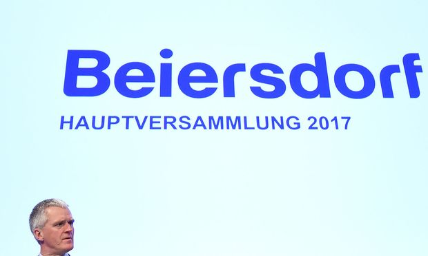 Stefan Heidenreich, CEO of German personal-care company Beiersdorf, delivers his speech at the annual shareholders meeting in Hamburg