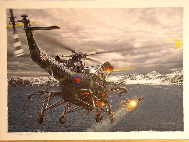 Künstlerische Darstellung des Beschusses der Santa fe durch englische Hubschrauber vor Grytviken (South Georgia)