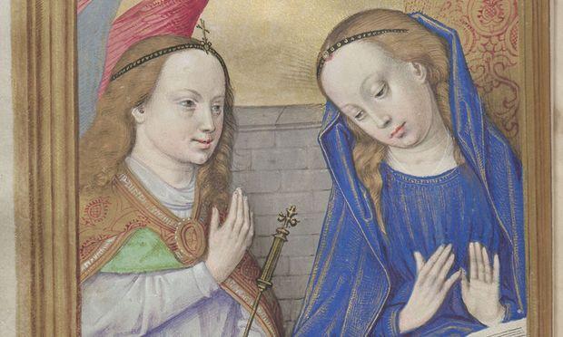 """""""Verkündigung des Engels an Maria"""" – Illustration in einem Stundenbuch der Gent-Brügger Schule aus dem frühen 16. Jahrhundert."""