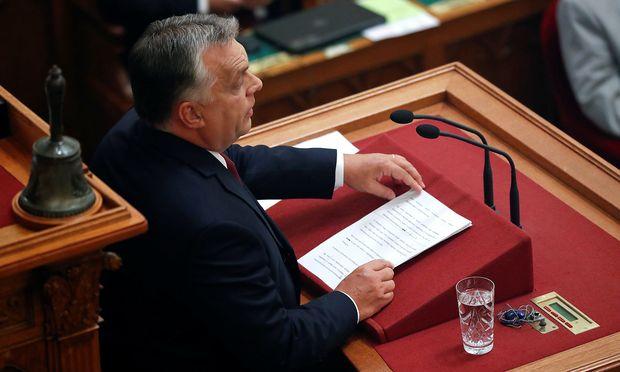 Ungarns Regierungschef Viktor Orbán im ungarischen Parlament.