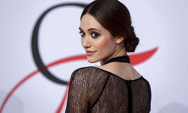 Emmy Rossum arrives for the 2015 CFDA Fashion Awards in New York