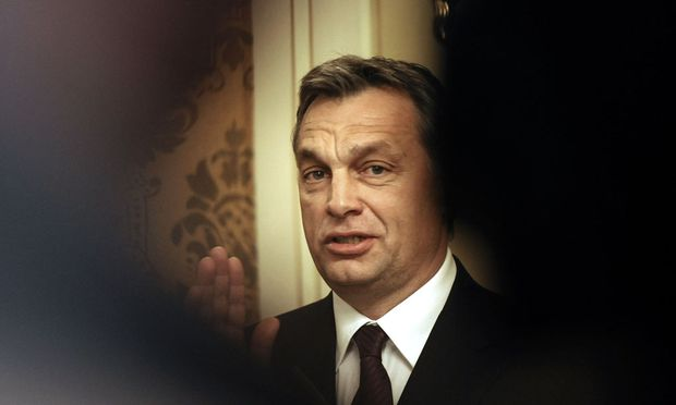 Hungary´s Prime Minister Orban gestures during a news conference after a meeting with his Slovak counterpart Radicova in Bratislava