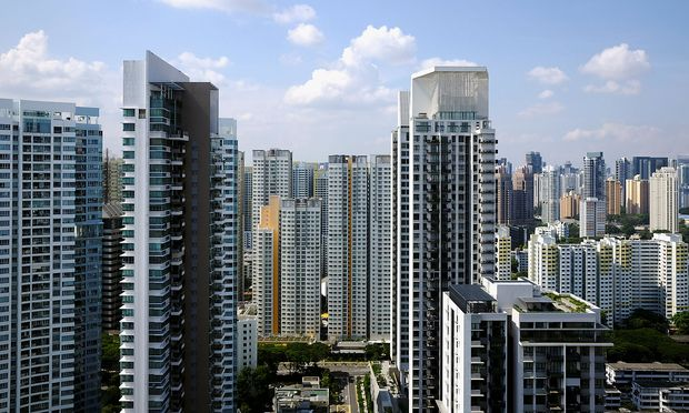General view of apartment blocks consisting of private and public housing, in Singapore