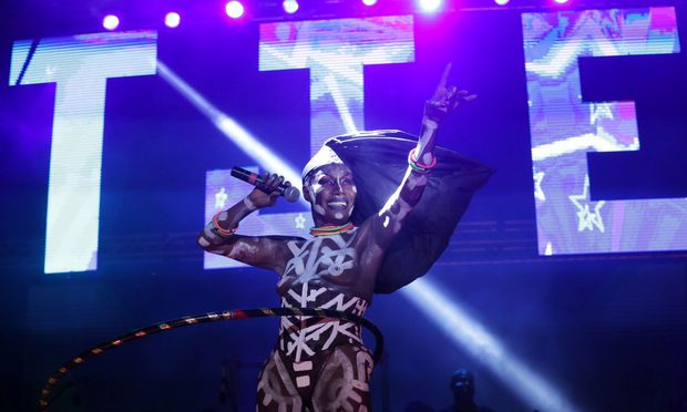 Jamaican singer Grace Jones performs during the final day of the Tobago Jazz Experience in Lowlands
