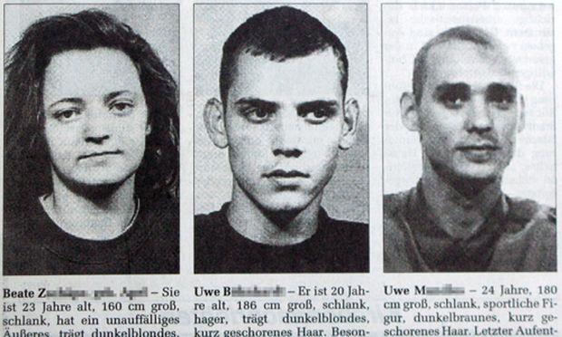 Eine Reproduktion aus der Ostthueringer Zeitung aus dem Jahr 1998 zeigt Fahndungsbilder von Beate Z. (v.l.), Uwe W. und Uwe M.