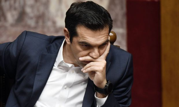 May 18 2017 Athens Greece Greek Prime Minister Alexis Tsipras speaks during a Parliament sessi