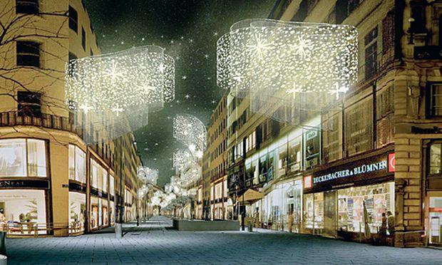 Moderne Weihnachtsbeleuchtung.Wien Lichtflügel Für Die Kärntner Straße Diepresse Com