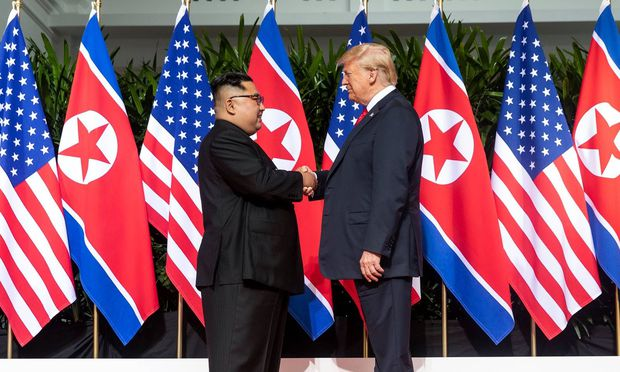 June 12 2018 Sentosa Island Singapore U S President Donald Trump right shakes hands with No