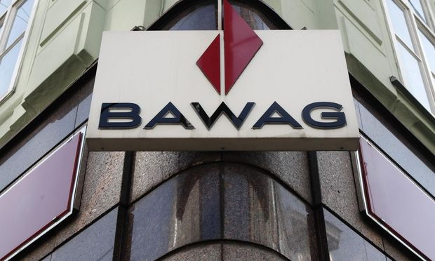 BAWAG P.S.K. logo is pictured at a branch office in Vienna