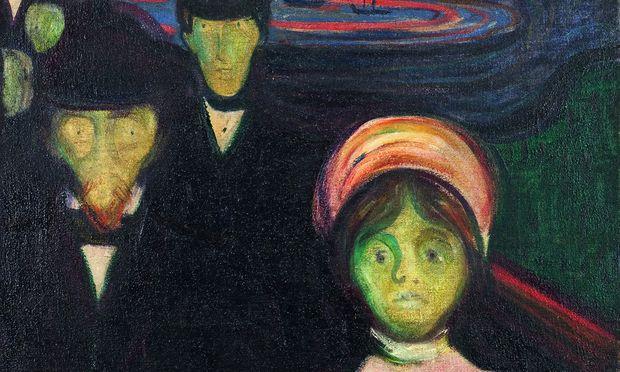 """Therapieren? Wer weiß, was sie in Munchs """"Angst"""" sehen, vielleicht sollten sie lieber flüchten."""