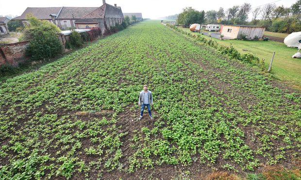 Andreas Gugumuck vor einem Feld, hinter dem sich das Brachland erstreckt. Links von ihm sieht man den Haschahof.