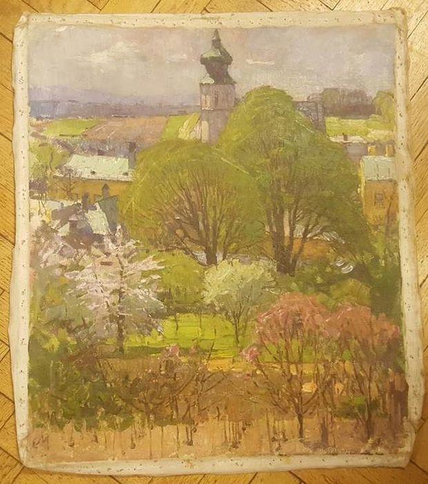 Das sichergestellte Werk 'Kirschblüten in Grinzing' von Carl Moll