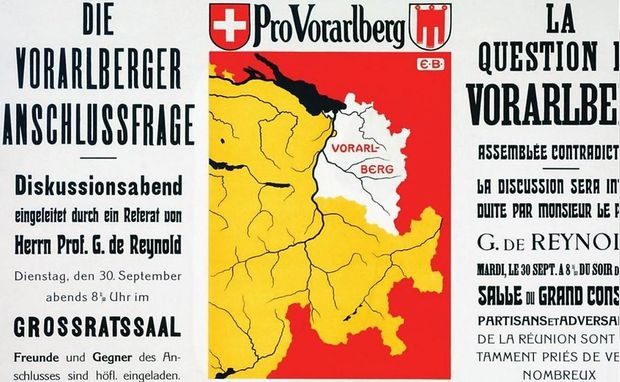 Einladung zu einer Diskussionsveranstaltung in Bern, unter Verwendung des Briefkopfs der Vereinigung Pro Vorarlberg, 1919. Redner war Gonzague de Reynold, Befürworter eines Beitritts von Vorarlberg.