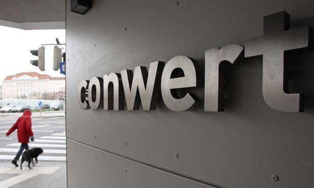 The logo of Austrian property group Conwert is pictured at its headquarters in Vienna