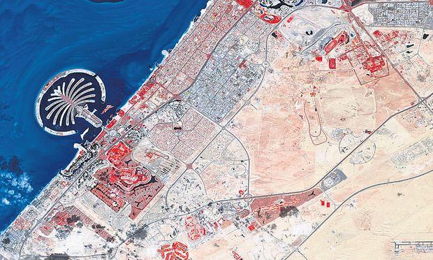 Von oben: Die Insel in Dubai wurde in Form einer Palme angelegt.