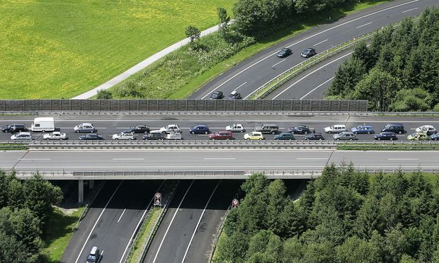 Cars are stuck in traffic on the A10 motorway between Salzburg and Villach.