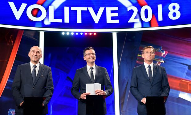 Ex-Premier Janša (links), Noch-Regierungschef Miro Cerar (rechts) und Marjan ?arec (Mitte), der nun nach der Macht greift.