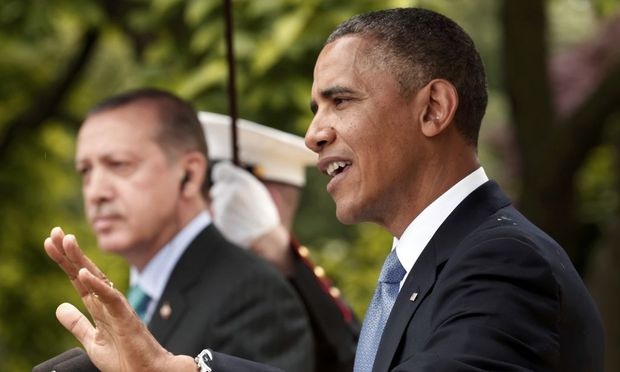 U.S. President Obama and Turkish Prime Minister Erdogan hold joint news conference at the White House in Washington