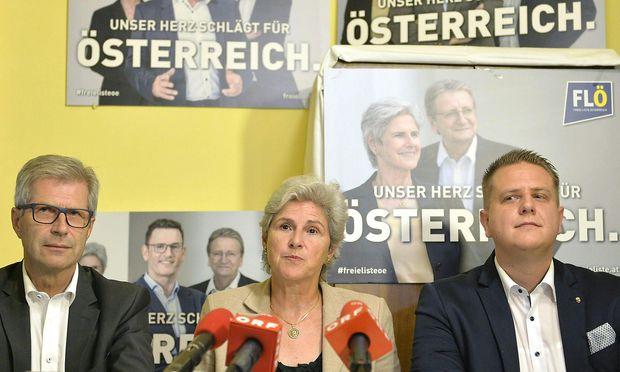 Der FLÖ- Spitzenkandidat fürs Burgenland, Manfred Kölly , die Spitzenkandidatin der Freien Liste Österreich (FLÖ) Barbara Rosenkranz und der Salzburger Spitzenkandidat Hubert Wallner