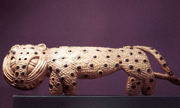 An arm ornament in the form of a leopard, part of a ceremonial outfit of the Oba of Benin