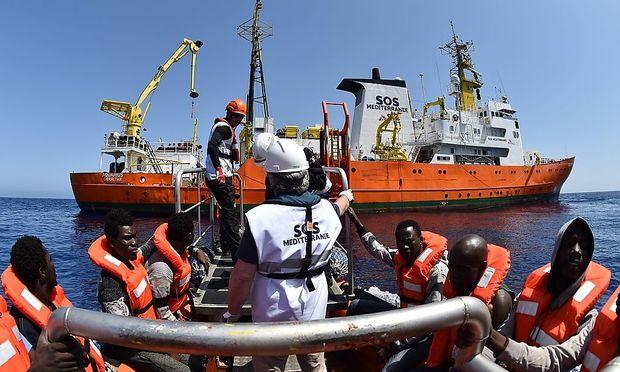 Eine Rettungsaktion im Mittelmeer.
