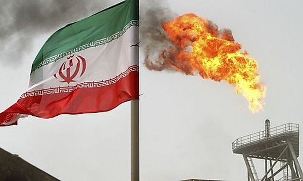 File photo of gas flaring from an oil production platform at the Soroush oil fields in the Persian Gu