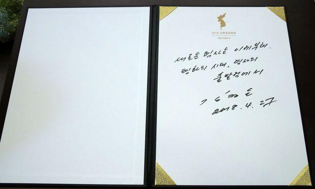 Eintrag von Kim Jong-un im Gästebuch